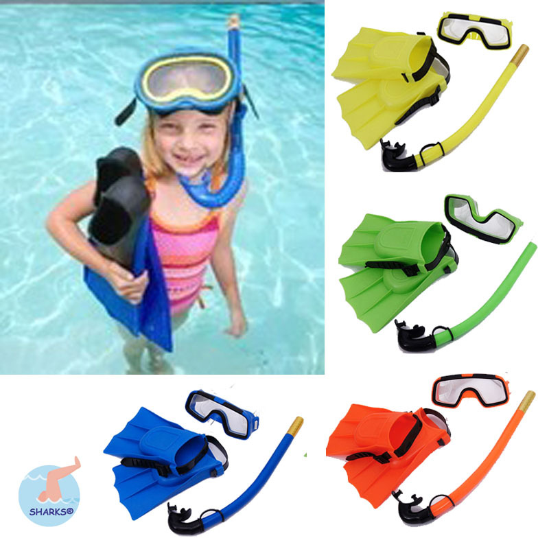 4 colour kid swimming diving 3 sets child scuba diving equipment snorkeling diving mask goggle - Colour Kid