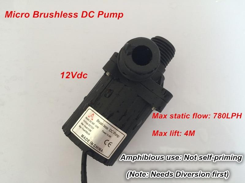 2pcs/ Lot 12V Micro Pump with DC Plug, DC40F-1240 780LPH 4M, Brushless, Solar Submersilbe pump, Mini Size For Fountain, Aquarium