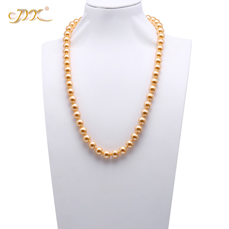 JYX Long Pearl Necklace 12mm Round South Seashell Pearl for Women White Coffee Golden Gray Black Pearl Necklace 28