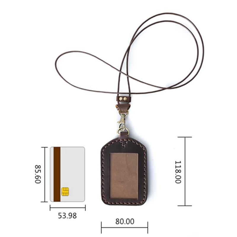Držák kožené ID karty Unisex Name Tag Handmade Crazy Horse kožené pouzdro na kreditní karty přizpůsobené kožené kožené ID držitelé