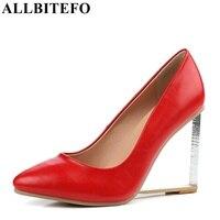 ALLBITEFO 8 цветов пикантные женские прозрачные туфли-лодочки из натуральной 100%-й кожи на танкетке с острым носком туфли с цветочным узором на вы...