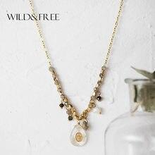 Selvagem & livre vintage longo pingente colar artesanal gota de água frisado charme cristal pingentes colares para mulher bijoux