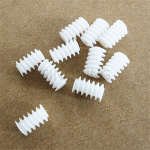 100pcs Plastik Tangan Kanan Putih 6 * 10 (2A) Motor Turbin Cacing 0.5 Modul Pengurangan Gear DIY Model Parts