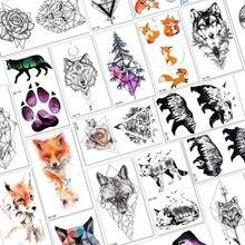 40ac3083b Cute Watercolor Fox Compass Tree Wolf Small Temporary Tattoos For Women Men  Body Art Arm Armband Tattoo Sleeve Henna Flower Kids