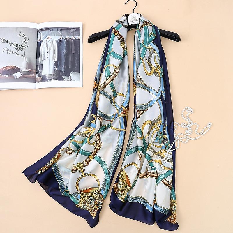 Brand Scarf 180x90 Women Silk Scarf Links Chain Printing Soft Long Shawl Large Silk Wrap NEW Fashion Women Scarves Hijabs SK050