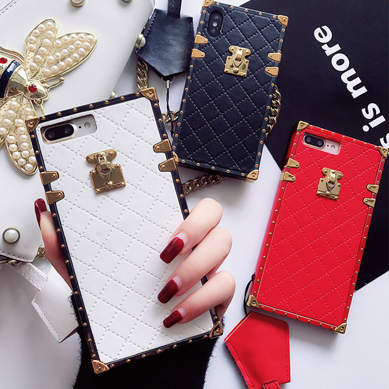 Fashion luxury Square Leather Case for iPhone XS Max XR X 8 7 6 6s Plus Case girl Plaid Pattern