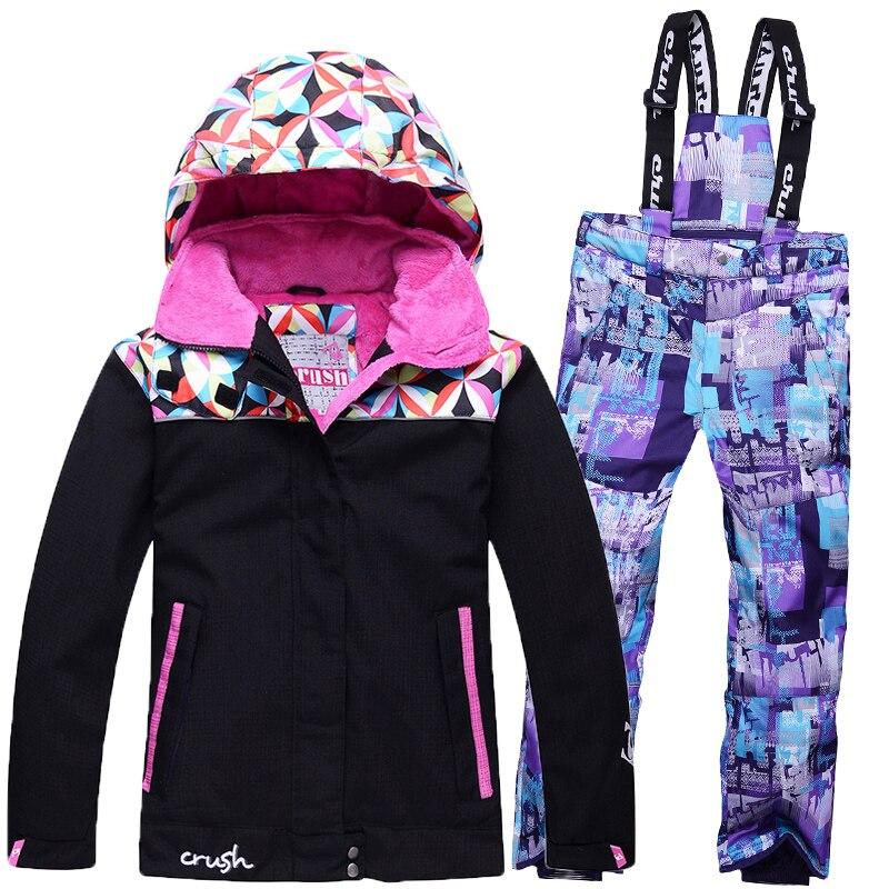 New Children Ski Suit Girls Winter Outdoor Windproof Waterproof Warm Suits Thickening Clothes Set For Kids
