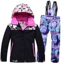 Nouveau Enfants Ski Costume Filles D'hiver En Plein Air Coupe-Vent Imperméable Chaud Costumes Épaississement Vêtements Set Pour Enfants 7-8-10-12 Ans
