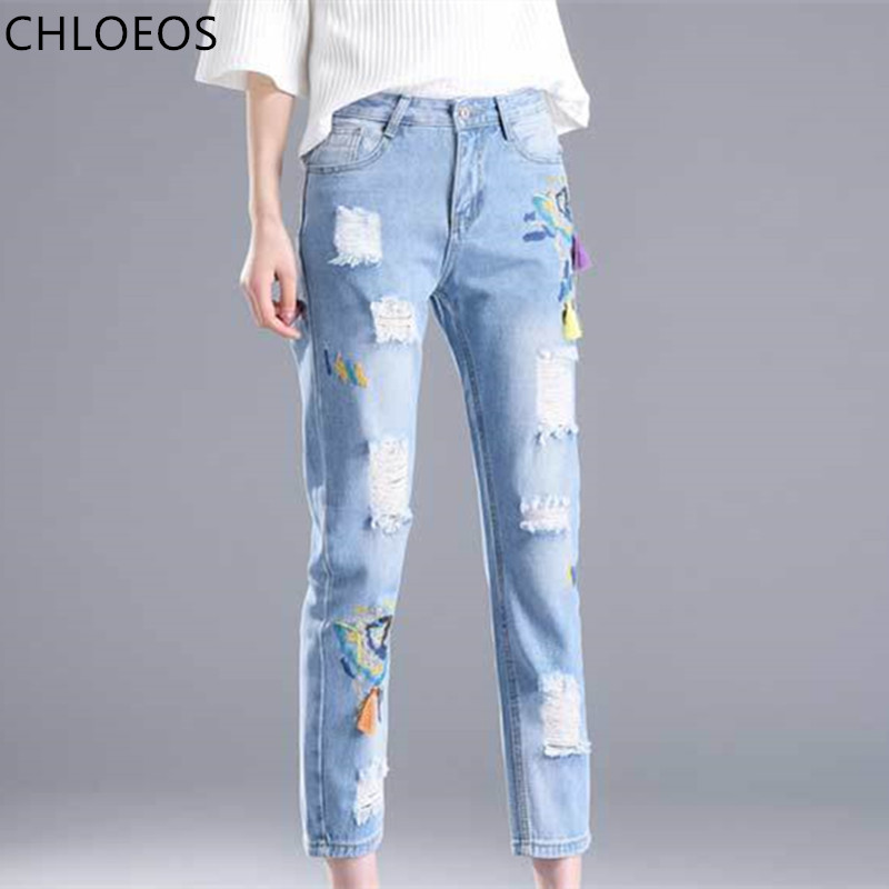 jeans women's 2017 spring and summer new embroidered flowers broken holes nine point pants, Korean style slim feet pants