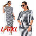 6XL Plus Size 2017 New Fashion Women Striped Dress Big Size Sexy Autumn Winter Bodycon Casual Pencil Dress Vestidos Clothing