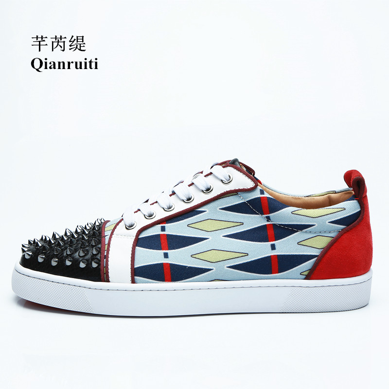 Qianruiti Men Rivet Flat Patchwork Lace-up Sneakers Spike Shoes Low Top Printing Men Runway Chaussures Hommes EU39-EU47 nordic simple round acrylic bedroom led ceiling lamp modern kitchen balcony corridor aisle cafe living room lamp free shipping