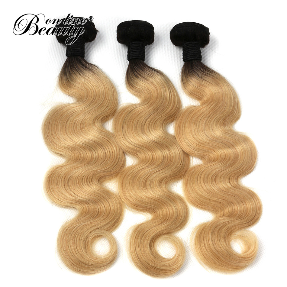 T1b/#613 Ombre Blonde Hair Bundles Dark Roots with #613 Brazilian Body wave Hair Weave Remy Human Hair Extensions Beauty On Line