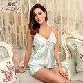 Mulher rendas salão sono nightwear deslizamento femme verão pijama de cetim conjunto de lingerie desgaste da noite do sexo feminino sleepwear seda das mulheres sólida