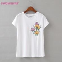 f7092c609 LUNDUNSHIJIA New 2018 Summer Women T-shirts Chrysanthemum Embroidery Tee  Tops Women O-neck Short Sleeve Loose White T-shirts