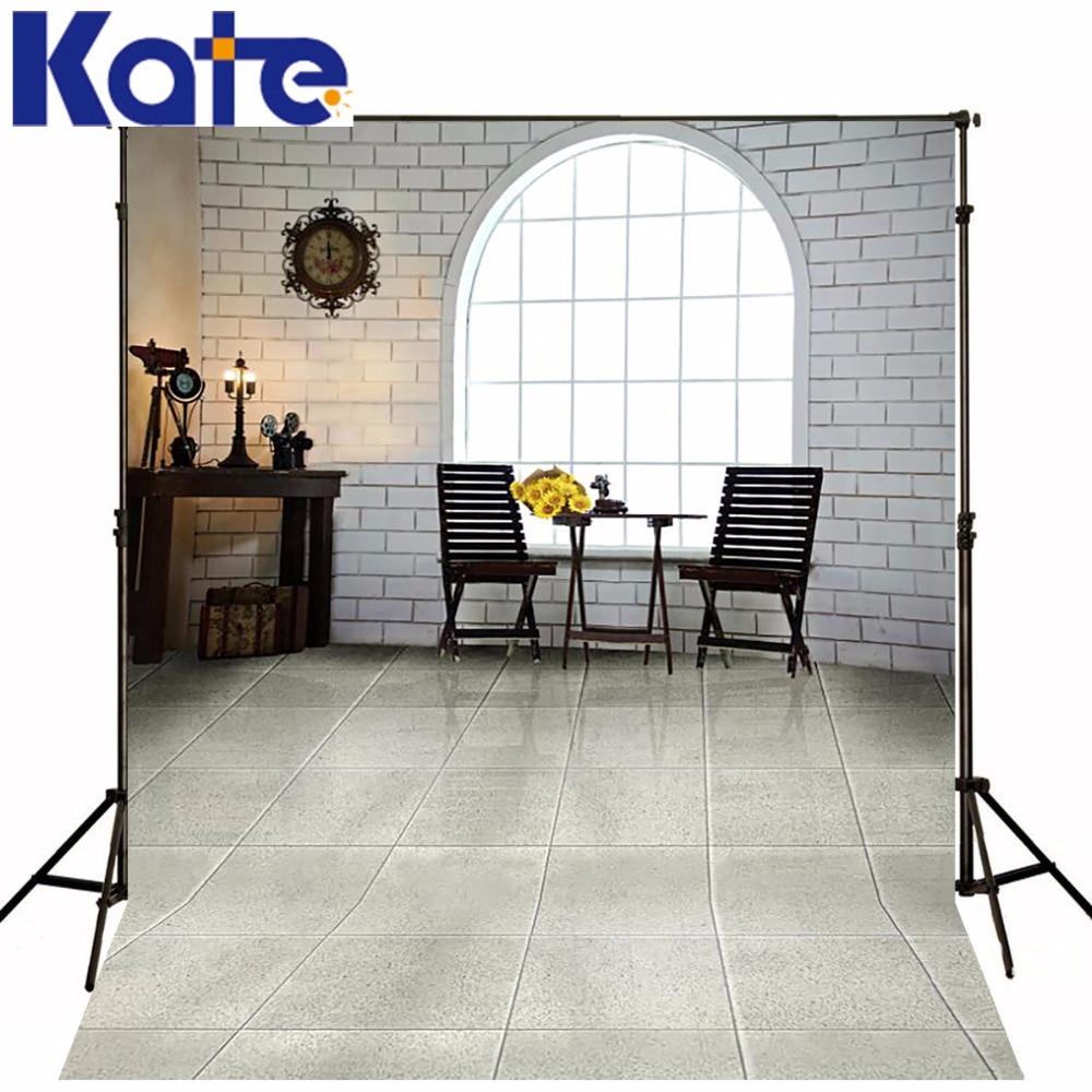 где купить KATE Photography Background Window Backdrop White Brick Wall Backdrops Indoor Wedding Backdrops Children Background For Studio по лучшей цене