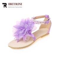 RIBETRINI Wholesale Large Size 33 43 Bohemia Style Ankle Beading Women Shoes Summer Sandals Soft Big Flower Beach Woman Shoes