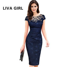 Liva Girl Womens embroidery Elegant Vintage Dobby fabric Hollow out embroidered Ruched Pencil Bodycon Evening Party Dress(China)