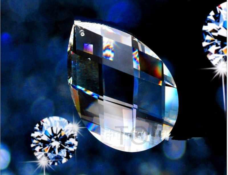 Оптовая продажа (360 шт./лот) 38 мм прозрачные Висячие кристаллы миндаля призматические капли ЛАМПЫ ЗАПЧАСТИ