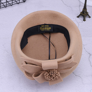 Image 5 - 2019新ウールベレー帽冬のベレー女性ファッション花女性フレンチエレガントなビーニーfedora帽子ビーニーautumu花