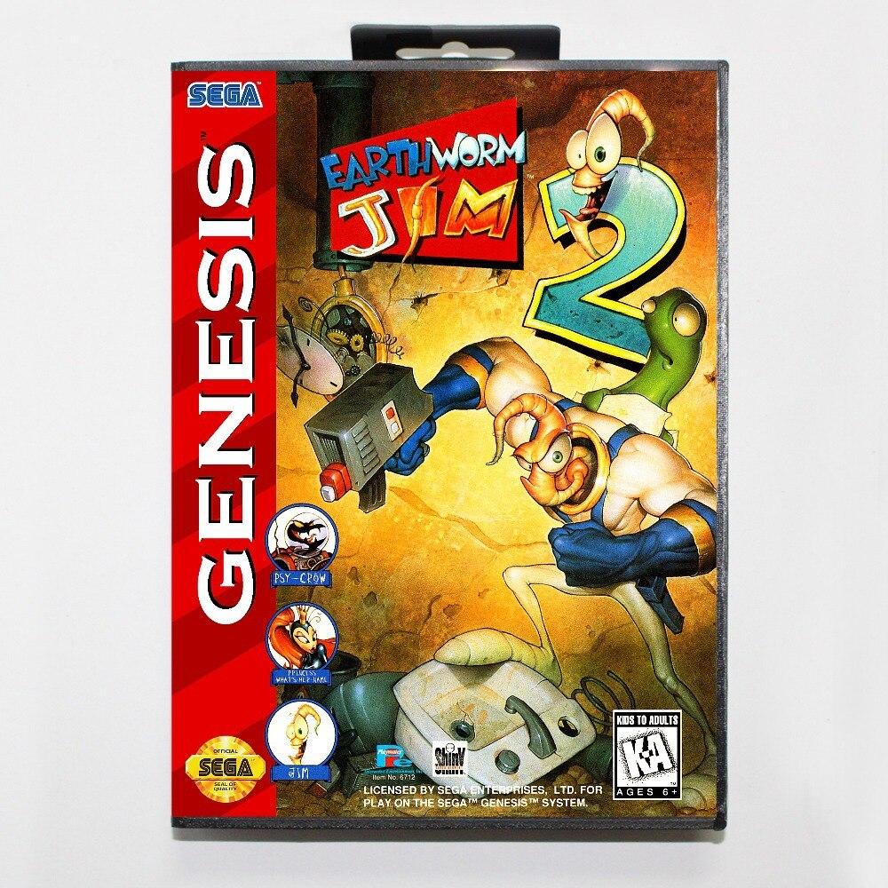 16 bit Sega MD game Cartridge with Retail box - Earthworm Jim 2 II game card for Megadrive Genesis system