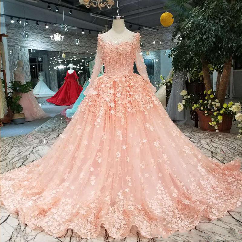 Pink Sweetheart   Prom     Dresses   O-Neck Illusion Long Sleeve Lace Up Back Lace Party Formal   Dress   With Flowers Real Garden Photos