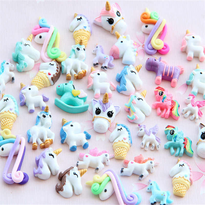5pcs Unicorn Charms for Slime Filler DIY Ornament Phone Decoration Resin Charms Lizun Mud Clay Slime Supplies Toys