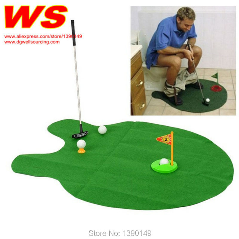 Golf Wc Mat.Free Shipping 1set Potty Putter Toilet Golf Game Mini Golf