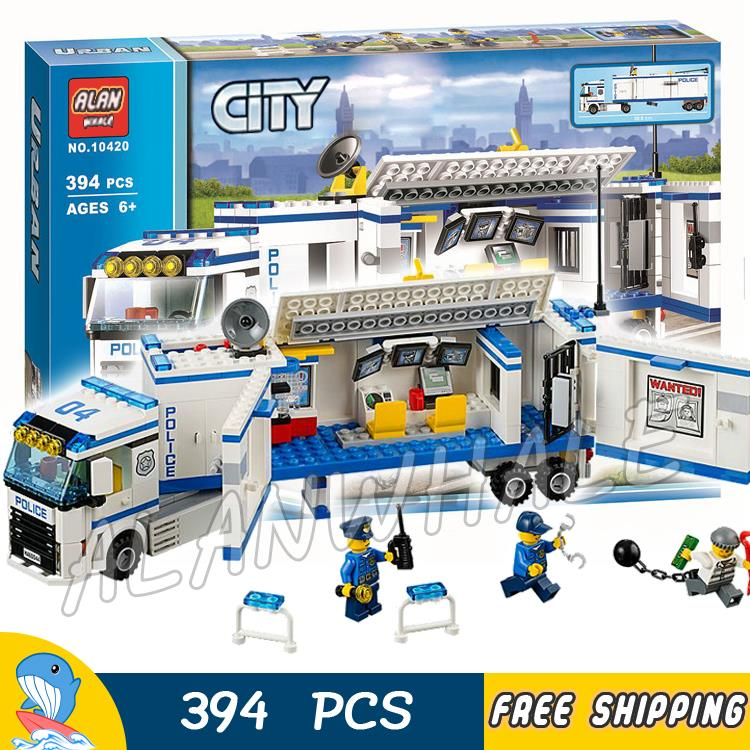 цена на 394pcs City Police Mobile Police Unit New 10420 Building Blocks Action Figures Model Boys Girls Kids Toys Compatible With lego