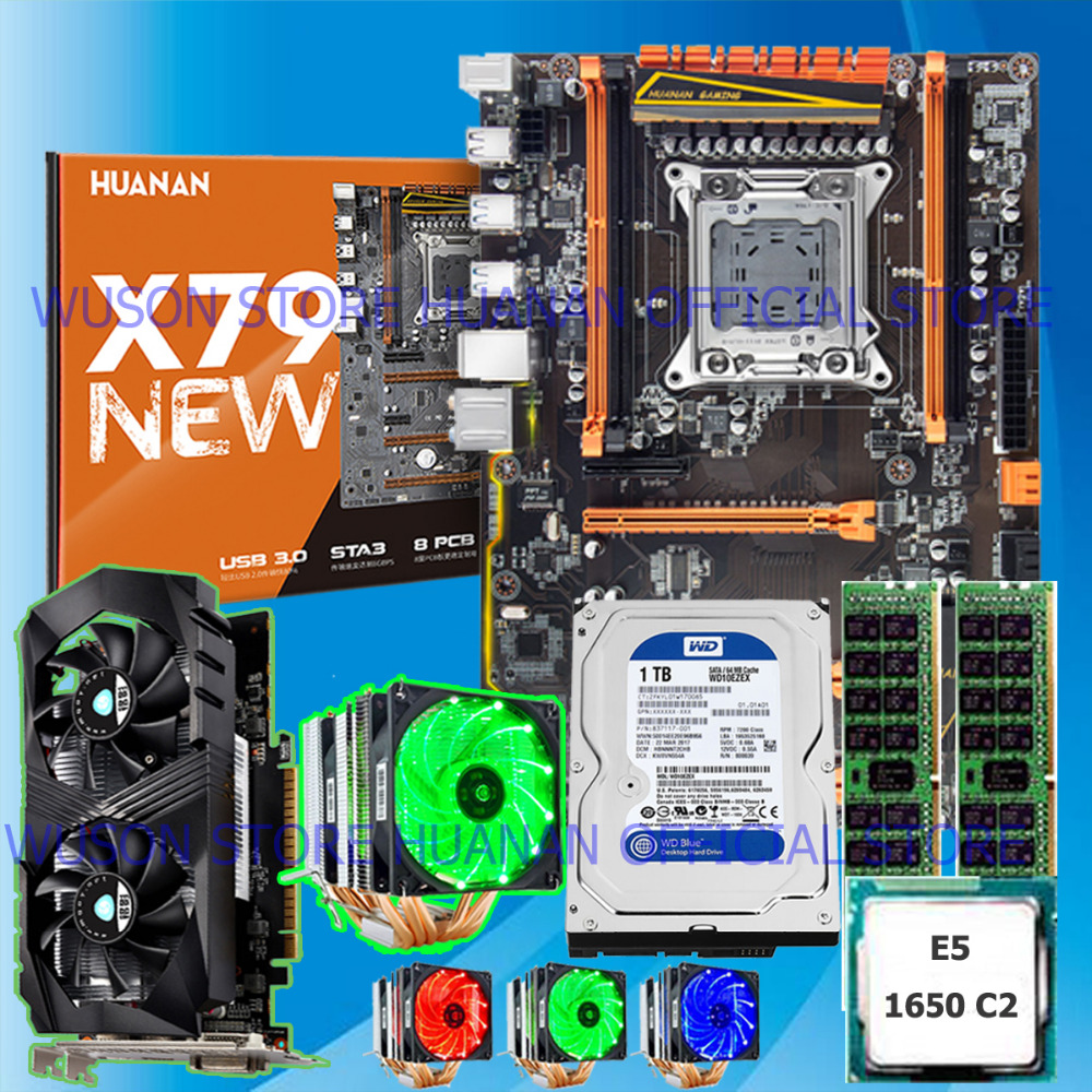 PC DIY HUANAN deluxe X79 motherboard 1TB SATA HDD GTX1050Ti 4GD5 CPU E5 1650 C2 with 6 heatpipes cooler RAM 16G(2*8G) DDR3 RECC термосумка thermos e5 24 can cooler 19л [555618] лайм