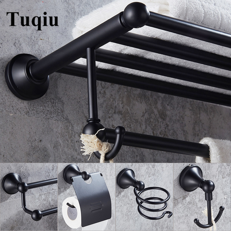Black Bathroom Accessories Set Robe hook Paper Holder,Towel Bar,toilet brush holder,Towel Rack bathroom hardware set towel ring black towel holder towel bar bathroom accessories set paper holder luxury toilet brush holder robe hook soap dish
