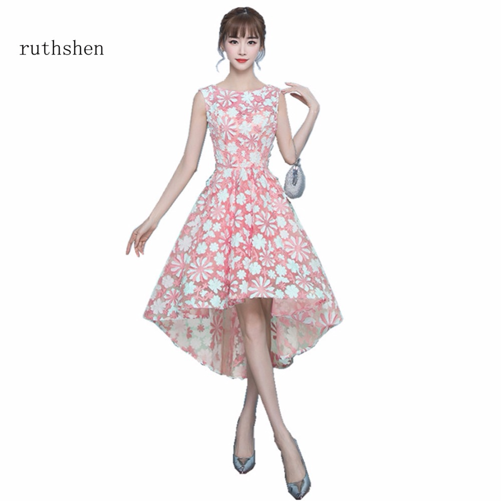 ruthshen Sexy High Low Pink   Prom     Dresses   Cheap Real Photos Sleeveless Formal Evening Gowns For Special Occasion Parties 2018