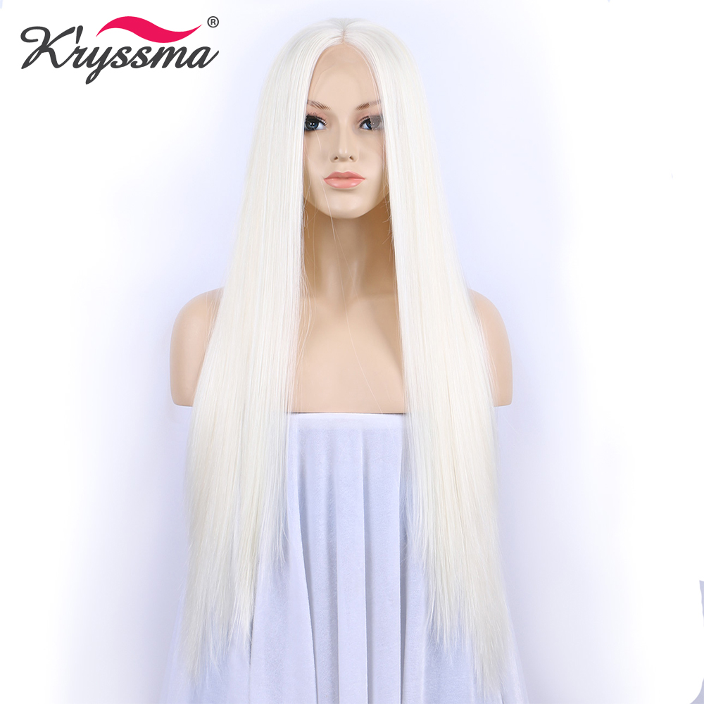 Long White Wig Cosplay Synthetic Lace Front Wig for Halloween Straight Wigs for Women Party Wig