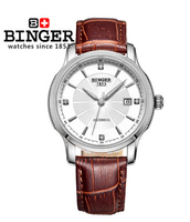 Binger Luxury Military Watch Silver White Bezel Calendar Dial mens automatic watch Mechanical Coffee Leather Band Wrist Watch