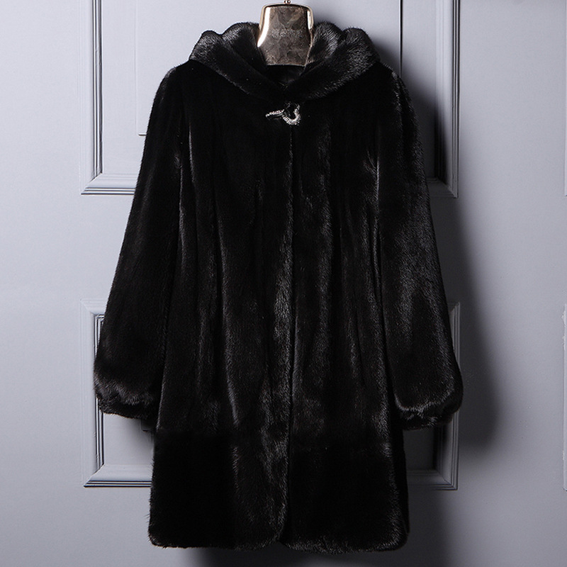Large Size 6XL Faux Fur Coat For Women 2019 New Winter Thick Warm Overcoat Imitation Fur Hooded Mink Coat Hooded Jackets V790