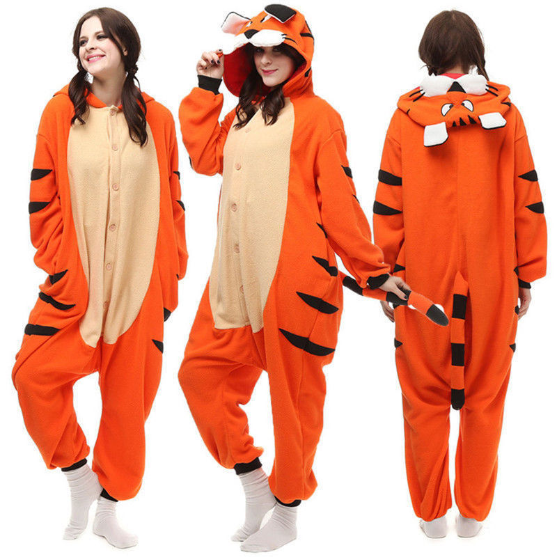 Anime Cartoon Unisex Adult Kigurumi Pajamas Cosplay Costume Sleepwear Bengal Tiger Jumpsuit Halloween Christmas Gift Dress