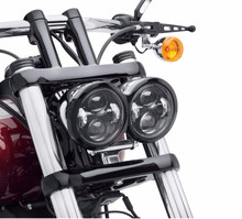 For Harley Davidson Dyna Fat Bob Daymaker Style HeadLights Dual Bullet font b Lamp b font