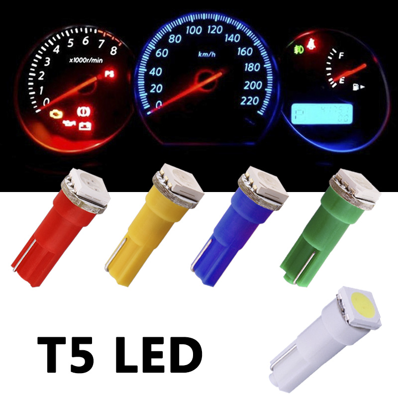 10pcs T5 1 SMD Red Dashboard Wedge LED Car Light Bulb Lamp 74 dash led car bulbs interior Lights Car Light Source parking 12V 3156 3w 1 smd led red light car steering backup light 12v