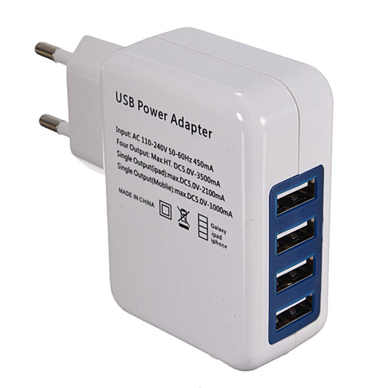 Hot Sale EU 4 USB Port Power Adapter HUB EU Plug Wall Charger For iPhone for iPad for Galaxy For Phone Tablet PC