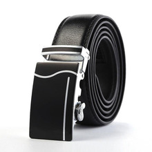 цены на Black Men Belts New Fashion Automatic Buckle Belts For Men Business Waistband High Quality Genuine Leather Belts Male A54F