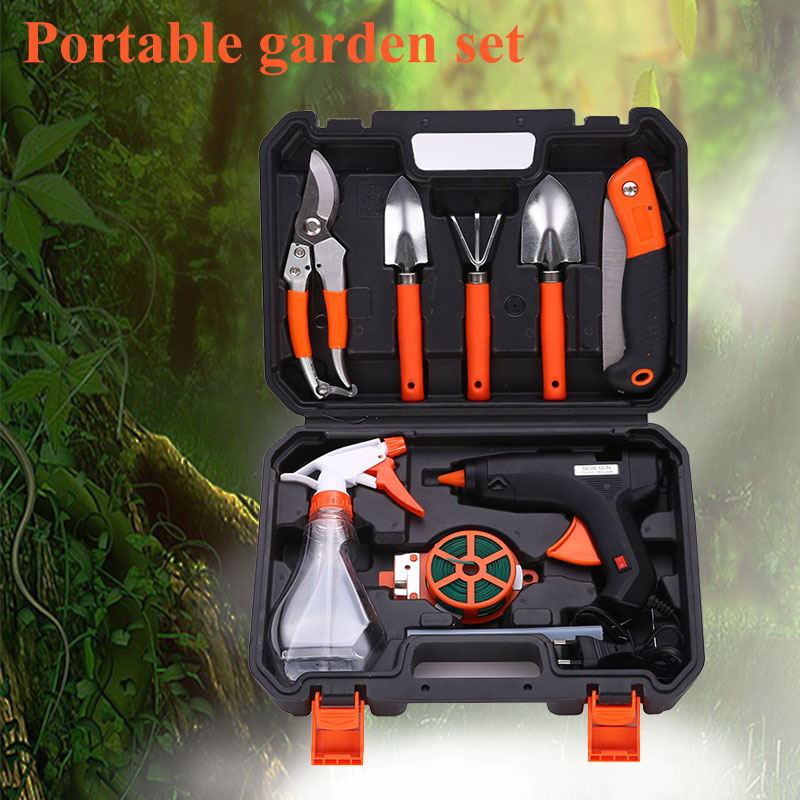 10pcs Set Gardening Tool Garden Shovel Rake Clippers Sprayer Portable For Farming Planting ALI88 three piece tool set gardening tools shovel rake hoe suits flower planting vegetables and flowers gardening