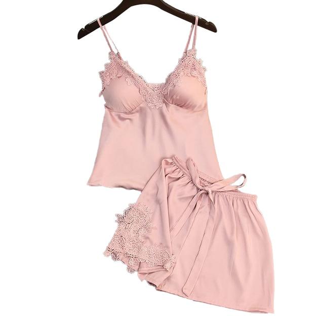Lisacmvpnel Sexy Ice Silk Women Pajama Set V-Neck With Pad Sexy Female Summer Pajamas