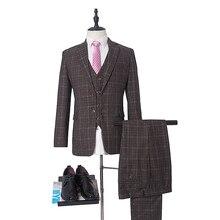 NA57 костюмы для вечеринки костюм из 3 предметов(пиджак+ брюки+ жилет) в клетку Tuexdos Best Man