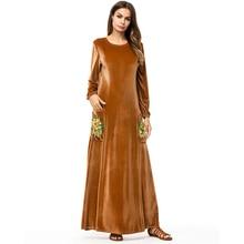 Fashion Autumn Winter Dress Women Elegant Sexy O-Neck Vintage Long Sleeve Velvet Dresses vestidos mujer Robes 7278