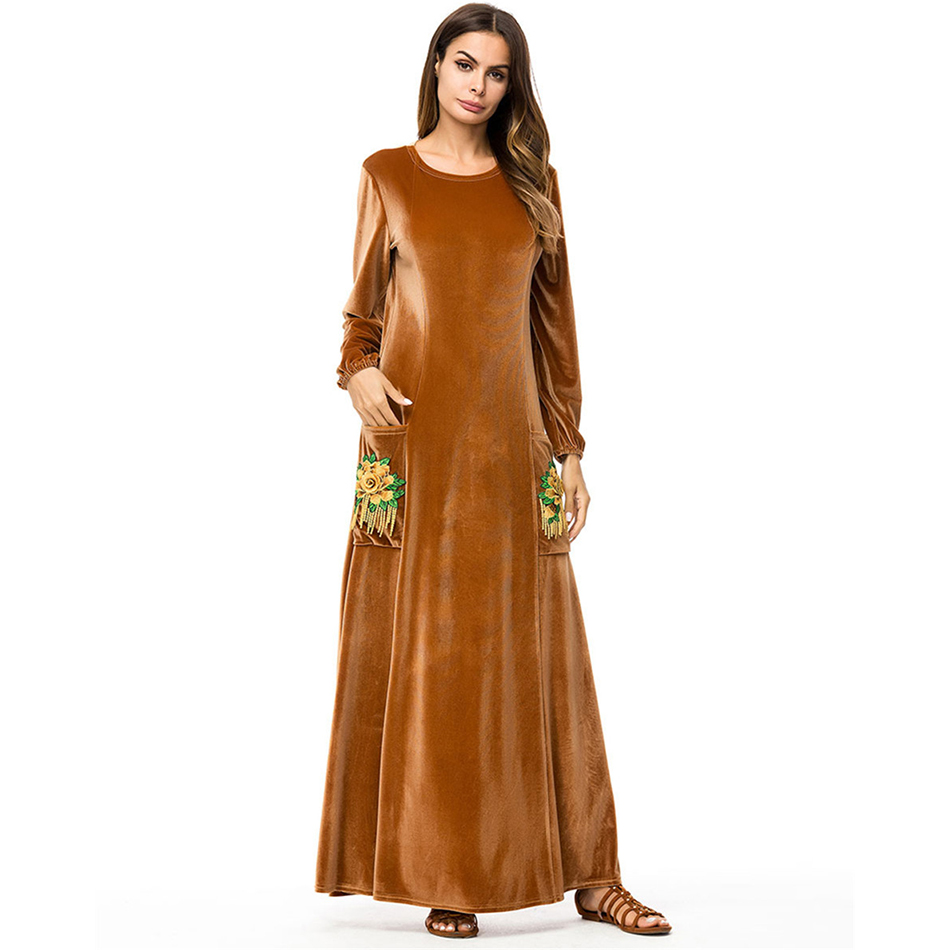 Mode automne hiver robe femmes élégant Sexy o-cou robe Vintage à manches longues velours Robes vestidos mujer Robes 7278