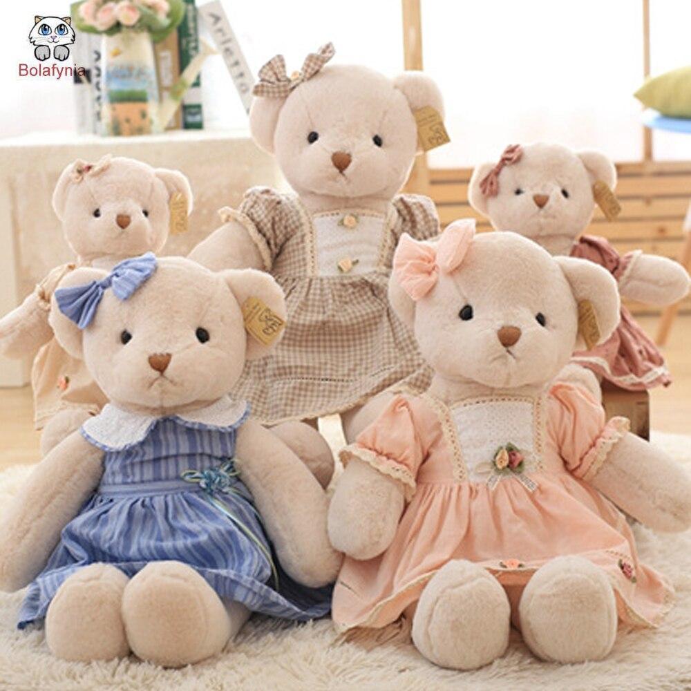 BOLAFYNIA Princess Bear Dressing Couple Teddy Bear plush toy children baby kids doll stuffed toy for birthday gift