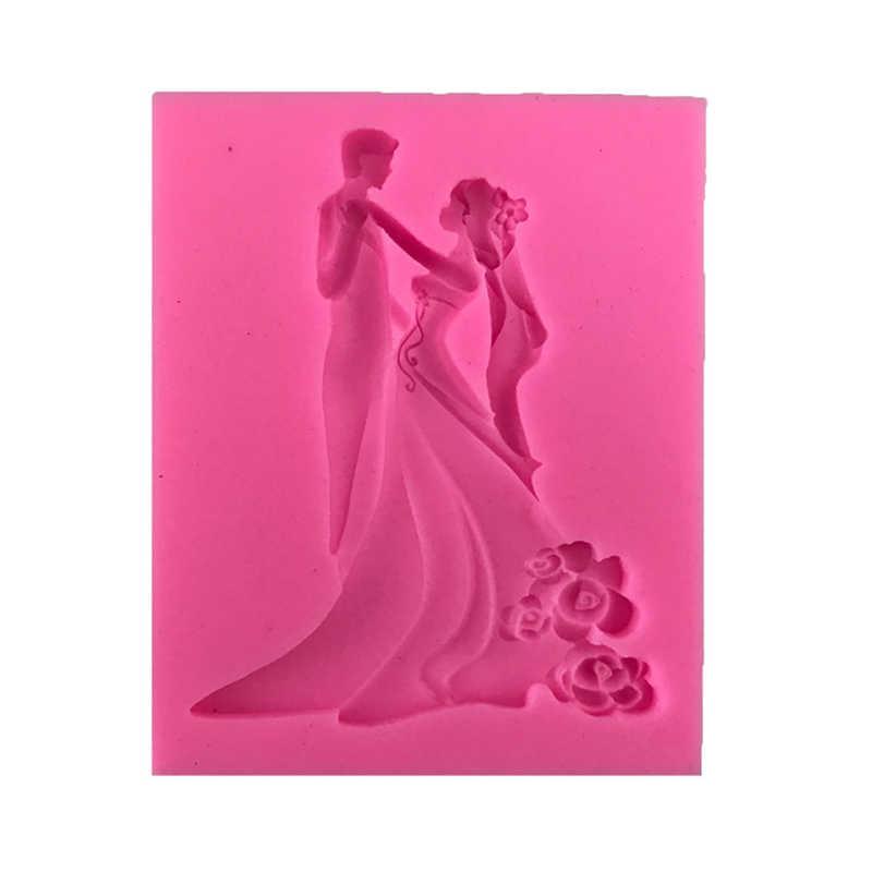 Свадебная форма для жениха и невесты, силиконовая форма для торта, шоколадная форма, сахарное ремесло, помадка, инструменты для тортов кондитерские изделия, декоративная форма