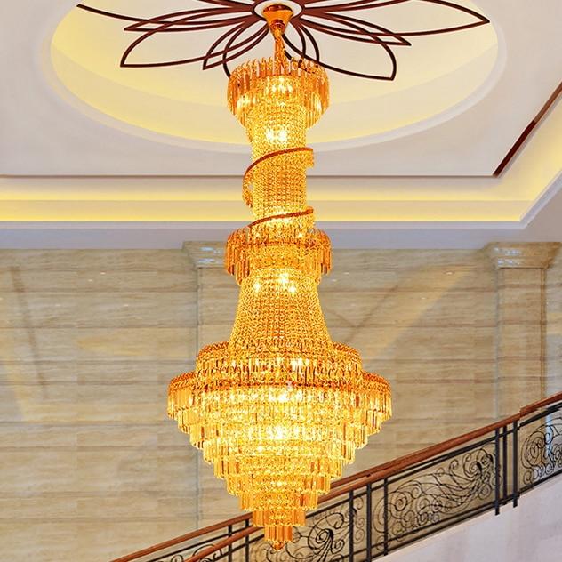 Duplex Gold Crystal Chandeliers Lights Fixture Modern Hotel Hall - შიდა განათება