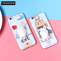 Cute Lucky 3D Cat Kitty Squishy Cartoon Animals Seal Stress Soft Phone Case For iPhone 7 7Plus 6 XS Max 8 8Plus SAMSUNG