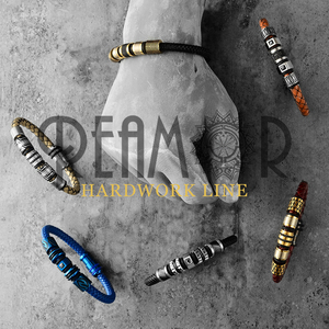 Image 3 - REAMOR Vintage Gray Genuine Leather Braided Bracelet Men Black Color Stainless Steel Cuff Bracelets & Bangles Male Jewelry Gift