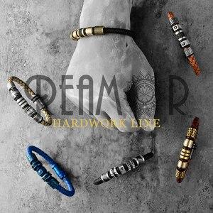 Image 3 - REAMOR pulsera trenzada de cuero genuino para hombre, brazalete de acero inoxidable, Color negro, Vintage, gris